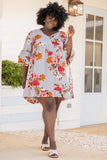 dress, short dress, above the knee, floral, v neck, bell sleeves, loose, comfy, baby doll, grey