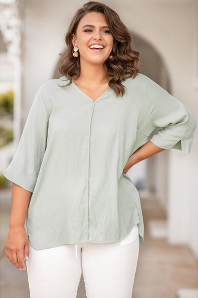 shirt, top, three quarter sleeve, v neck, loose, comfy, light sage, green