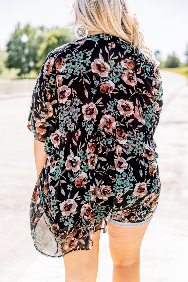 kimono, black, short sleeve, loose, comfy, floral, pink, green