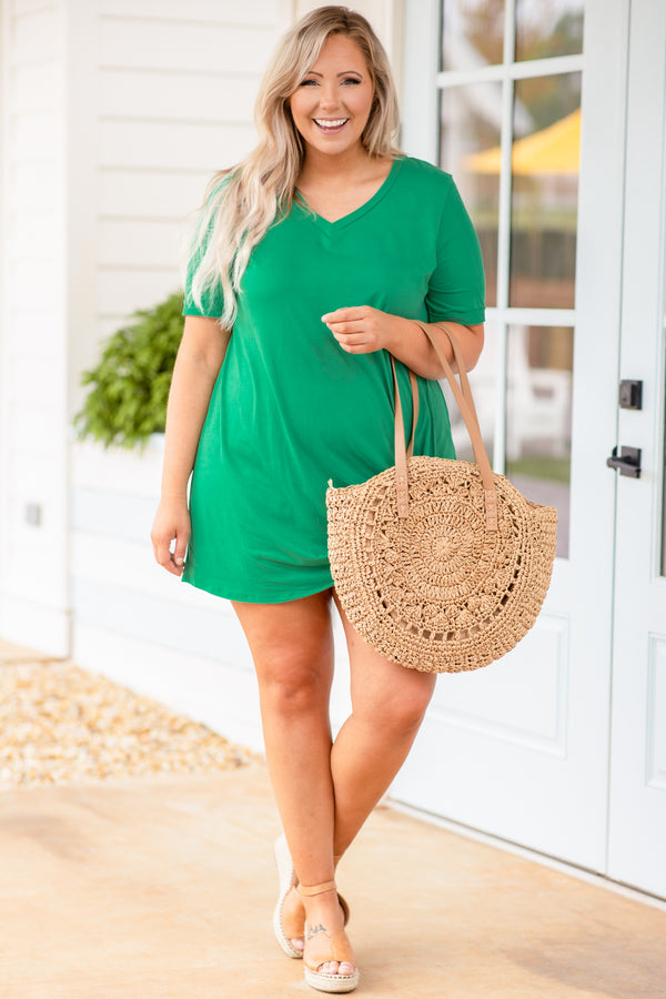 dress, short dress, above the knee, knotted hemline, mint, green, short sleeve, v neck, comfy