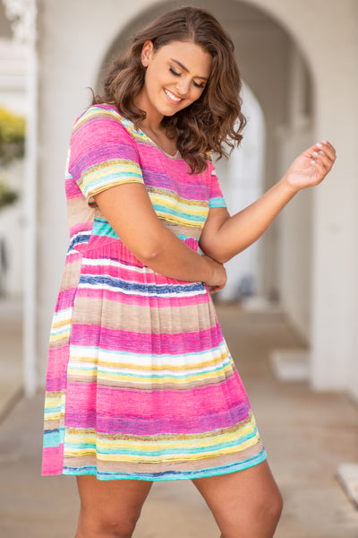 bright, figure flattering, baby doll, short, stripes, round neck, short sleeve