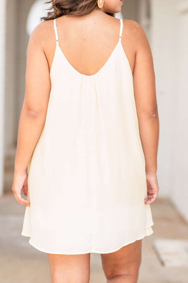 dress, sleeveless, spaghetti strap, loose, comfy, scoop neck, ivory, flowy