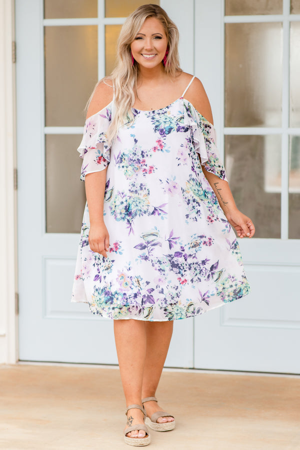 dress, short dress, knee length, off the shuolder, spaghetti strap, cold shoulder, floral, wite, purple, green, loose, comfy, spring, summer