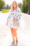 dress, short dress, flowy, comfy, loose, balloon sleeves, long sleeves, above the knee, floral, cream, blue, pink, v neck