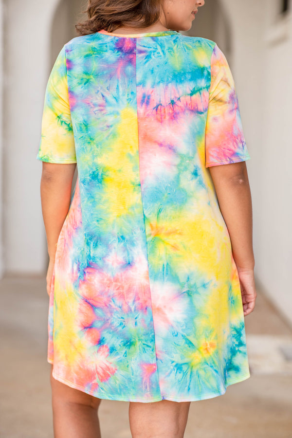 dress, short dress, short sleeve, loos,e comfy, a line, tie dye, coral, mint, yellow