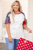 shirt, short sleeve, americana, white, red seams, blue, red, sleeves, stars