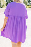 dress, short sleeve, loose, purple, lavender, babydoll, comfy, short dress