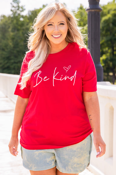 shirt, tee shirt, graphic tee, short sleeve, be kind, red, script, loose, comfy