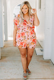 romper, shorts wrap top, v neck, floral, blush, pink, short sleeve, spring, summer, comfy
