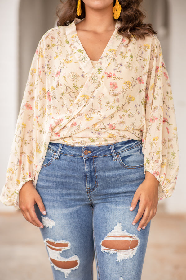 shirt, top, long sleeve, loose, puff sleeves, v neck, wrap, floral, cream, pink, yellow, spring, summer