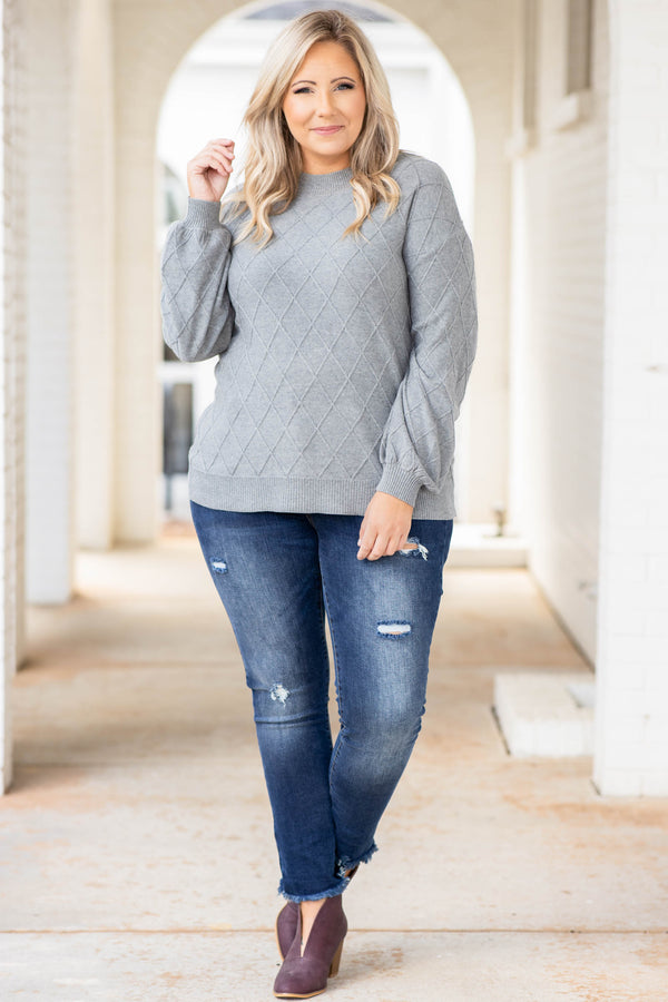 top, sweater, heather grey, long sleeves, balloon sleeves, neutral, textured, solid