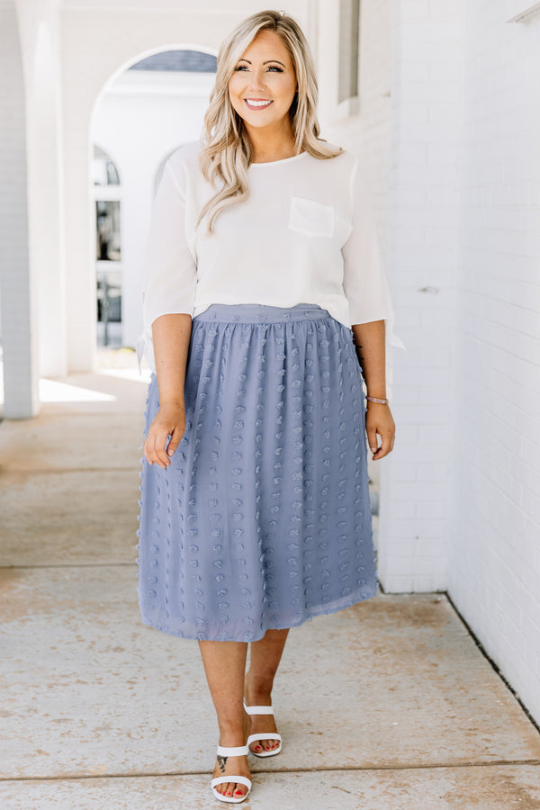skirt, midi skirt, dotted, blue, spring, comfy, summer, loose