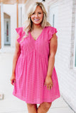 dress, short, short sleeve, ruffle sleeves, vneck, babydoll, flowy, eyelet lace, pink, comfy, spring, summer