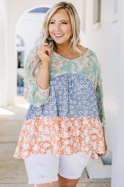 shirt, three quarter sleeve, vneck, bubble sleeves, tiered, long, mixed floral, green, blue, white, coral, comfy