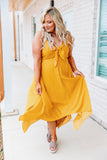 dress, midi, tank, vneck, tie neckline, asymmetrical hem, fitted bust, flowy skirt, mustard, white, polka dots, comfy, spring, summer