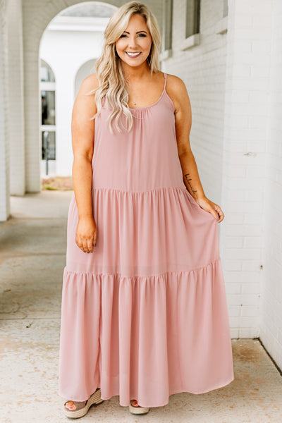 dress, maxi, sleeveless, spaghetti straps, scoop neck, babydoll, tiered, flowy, pink, comfy, spring, summer