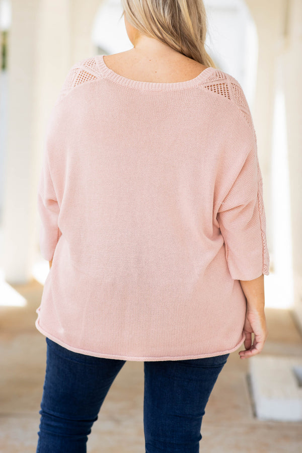 top, sweater, pink, solid, three quarter sleeve, scoop neck