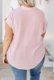 shirt, short sleeve, button front, knotted front, collar, stripes, red, white, curved hemline
