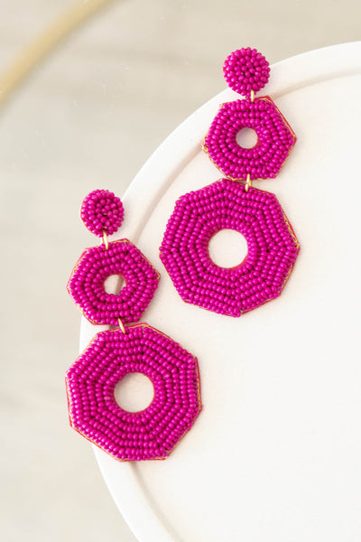accessories, earrings, pink, dangle