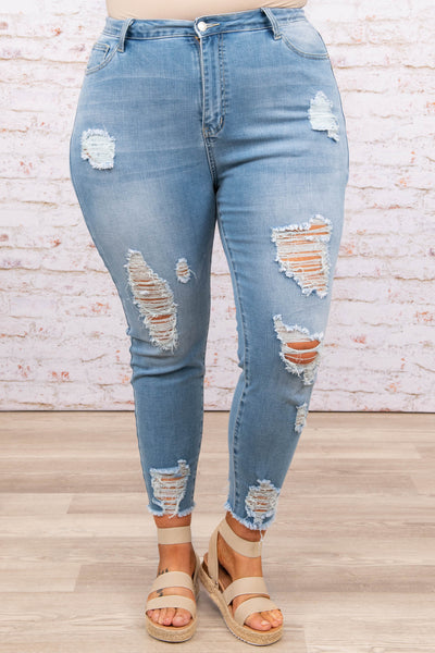 bottoms, skinny jeans, denim, distressed, light wash