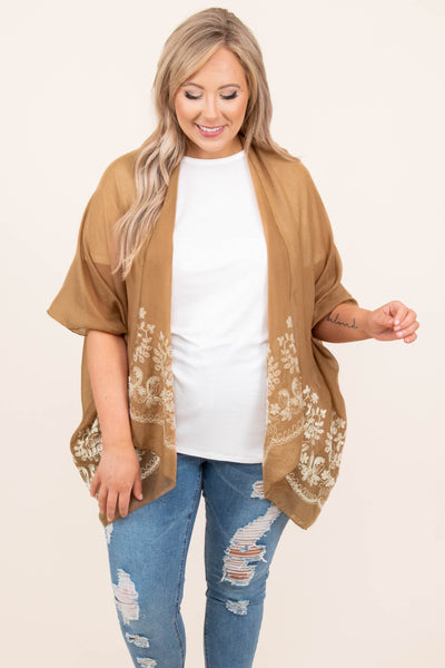 top, kimono, brown, embroidered, mocha, half sleeve