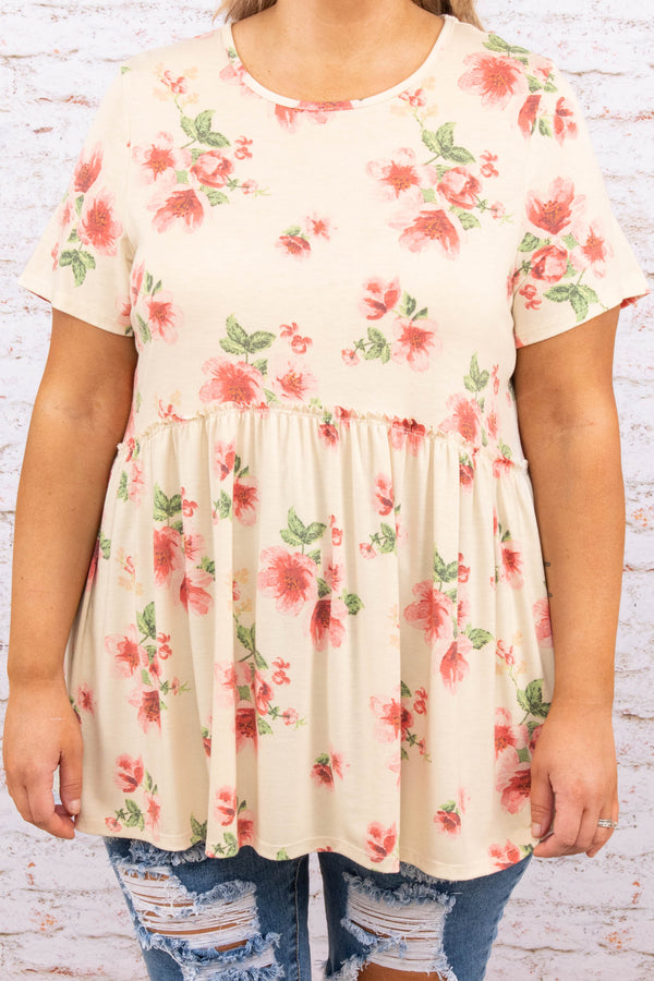 top, babydoll, floral, short sleeve, cream