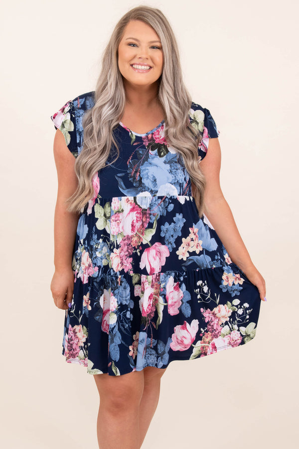 dress, casual, babydoll, blue, floral, flutter sleeve, navy
