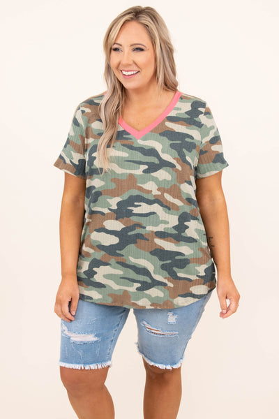 top, casual, green, camo, brown, camoflauge, short sleeve