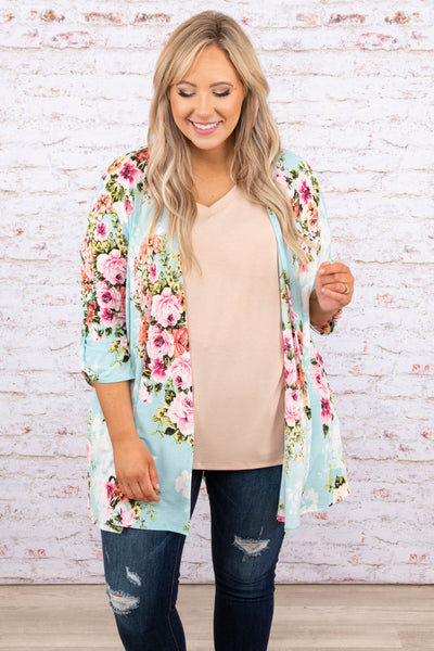 tops, cardigan, blue, floral, half sleeve