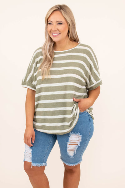 top, casual top, green, striped, short sleeve