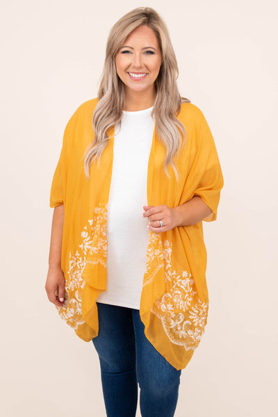 top, kimono, white embroider, mustard, mid length sleeve