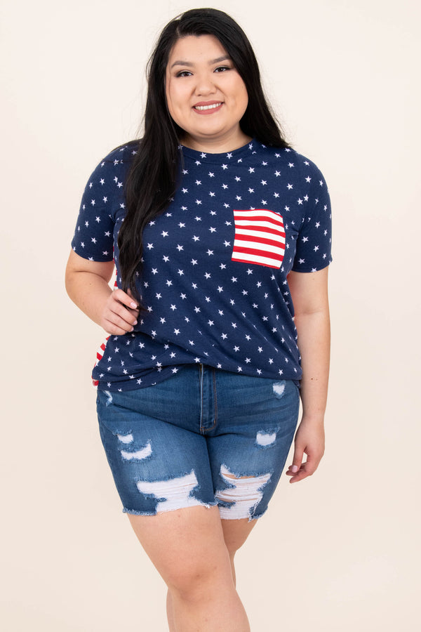 top, tee, graphic, navy, short sleeve, front pocket