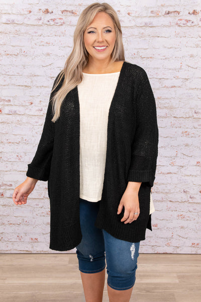 top, cardigan, black, solid, half sleeve
