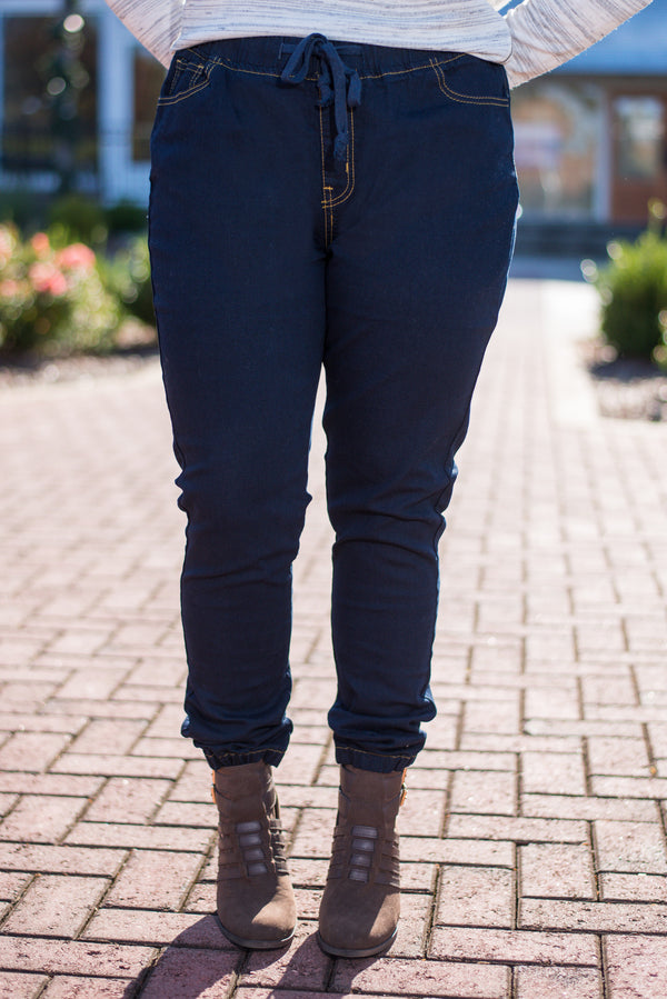 Tie New Things Jeggings, Dark Denim