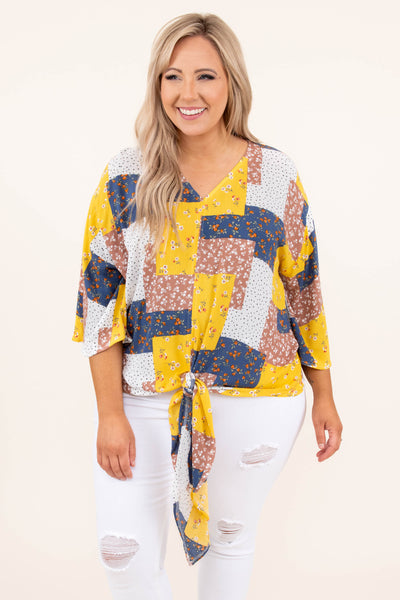 tops, casual tops, yellow, floral, three quarter sleeve