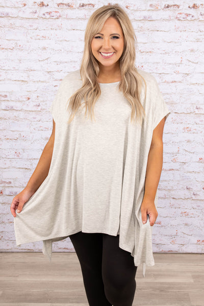 tops, tunic, short sleeve, silver, comfy