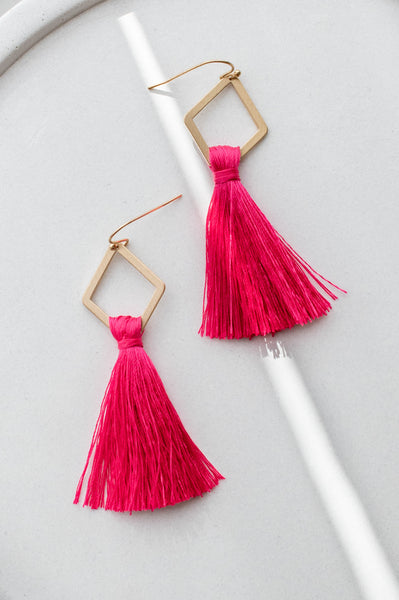 As Lovely As You Earrings, Fuchsia