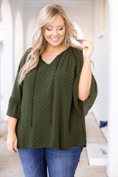 top, casual top, green, olive, vneck, polka dots, bell sleeves