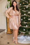 dress, special occasion dress, party dress, shoulder cut out, ruffles, short dress, gold, rose gold, sequin, long sleeve
