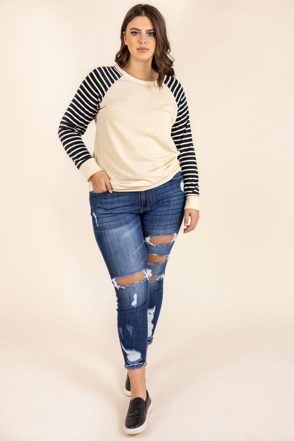 top, casual top, taupe, white, stripes, elbow pads, long sleeve