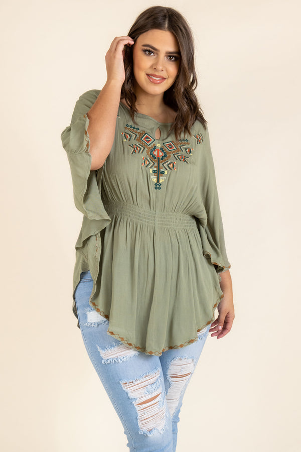 top, casual top, babydoll top, green, olive, embroidered, three quarter