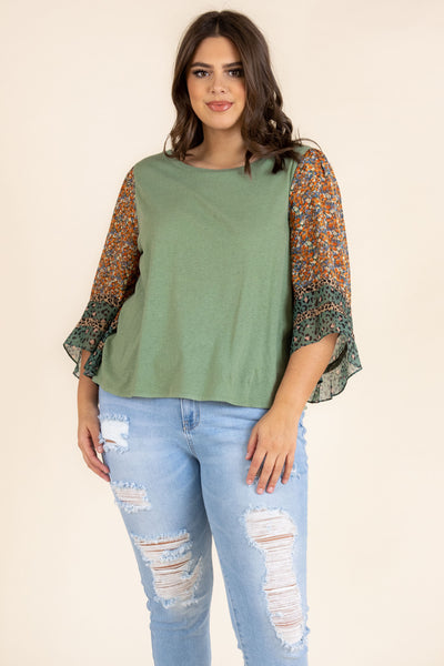 top, basic top, green, sage, floral, long sleeve, statement sleeve