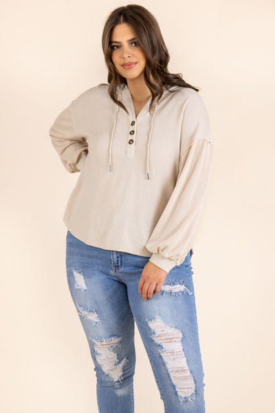 top, hoodie, cream, white, buttons, long sleeve, bubble sleeve