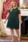 dress, party dress, holiday, green lace, open shoulder, Christmas, short sleeve