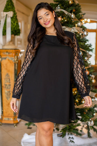 dress, special occasion, party dress, black, lace, bubble sleeves, holiday dress, New Years, Christmas, flattering