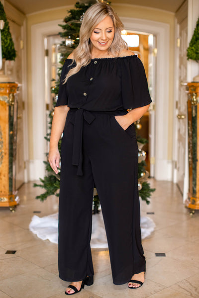 jumpsuit, off the shoulder, black, half sleeve, holiday, party, flattering