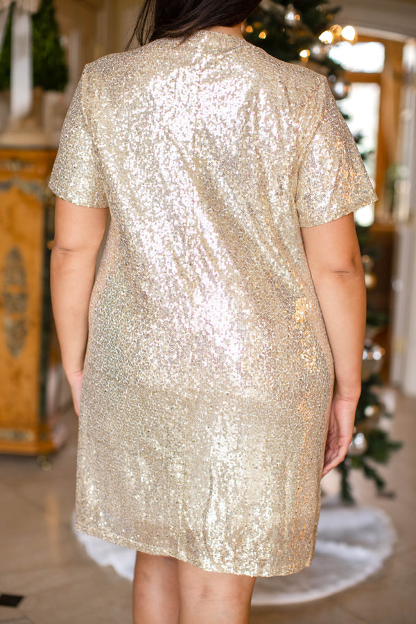 dress, special occasion, party, gold, sequin, short sleeve, Christmas, New Years, flattering, comfy