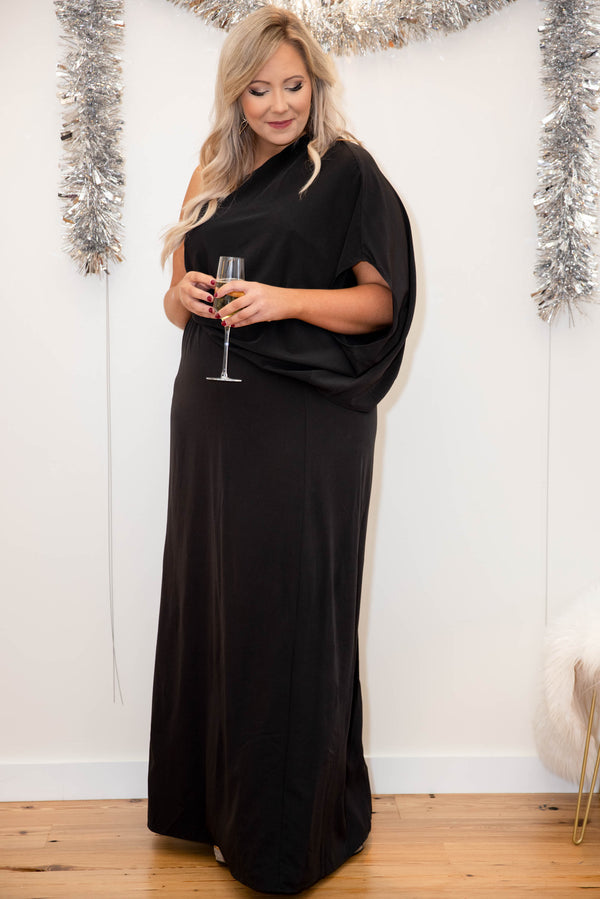 dress, special occasion, party dress, black, solid, flutter sleeve, one shoulder, flattering, winter, Christmas, new years