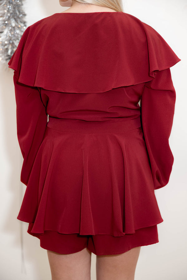 top, romper, red, solid, bubble sleeve, flattering, party dress, fall, winter