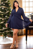 dresses, casual babydoll dress, holiday dress, blue, solid, long sleeve
